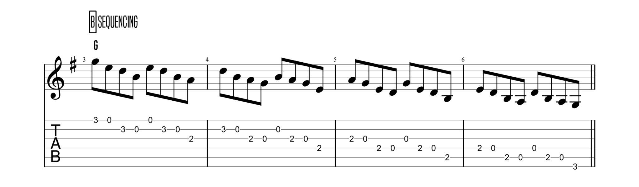 (Backstepping Sequence For Bluegrass Guitar Licks)